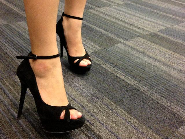 wearing heels