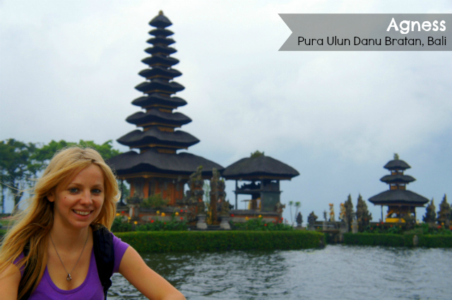 Agness etramping at Ulun Danu Temple in Bali