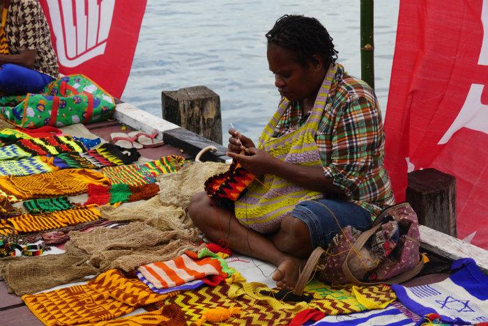 souvenirs seller at sentani festival