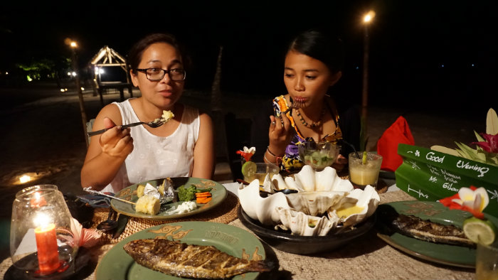 seafood happiness at Sire beach Lombok
