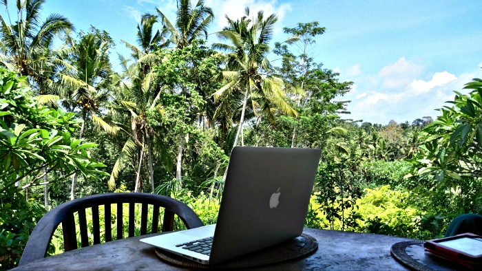 Working from the villa Ubud
