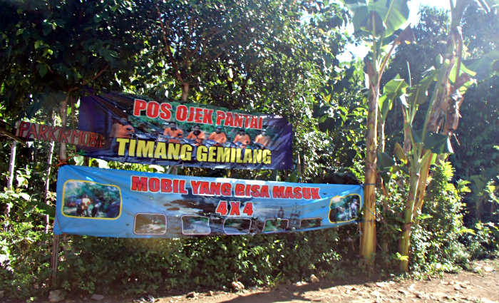 The parking area at Timang Beach. You are advised to park here and take an Ojek, which costs Rp 50,000 per person.